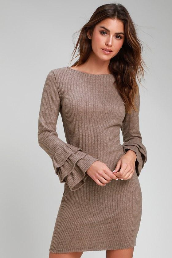 f221edbbd6 Cute Sweater Dress - Bodycon Sweater Dress - Taupe Dress