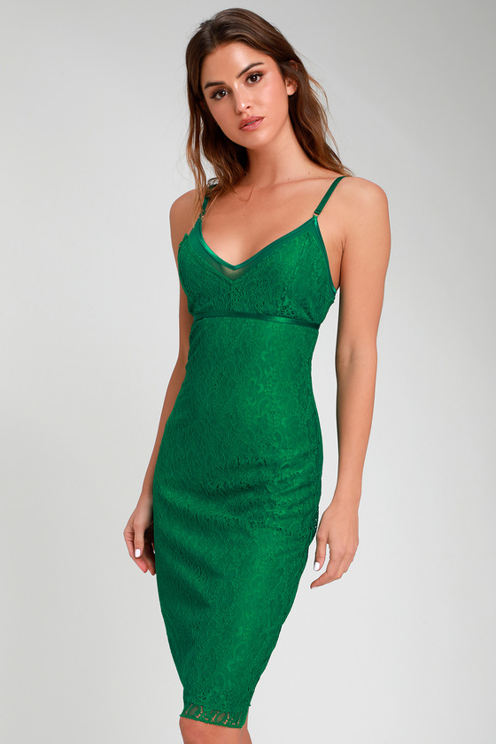 ede1c7cebbd65 Sexy Green Dress - Green Lace Dress - Lace Midi Dress