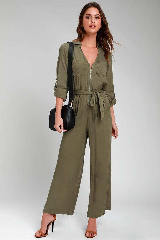 ddedd6a48f52 Cute Olive Green Jumpsuit - Woven Jumpsuit - Long Sleeve Jumpsuit