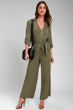70695a69e8f2 Stylish Olive Green Jumpsuit - Sleeveless Jumpsuit - Olive Green ...