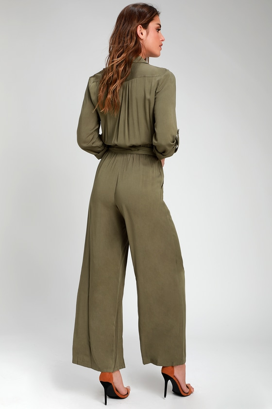 be4e6194739 Cute Olive Green Jumpsuit - Woven Jumpsuit - Long Sleeve Jumpsuit