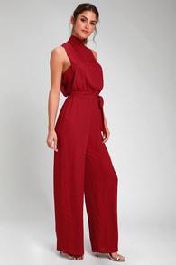 9d229ea1ebd Chic Wine Red Jumpsuit - Red Halter Jumpsuit - Wide Leg Jumpsuit