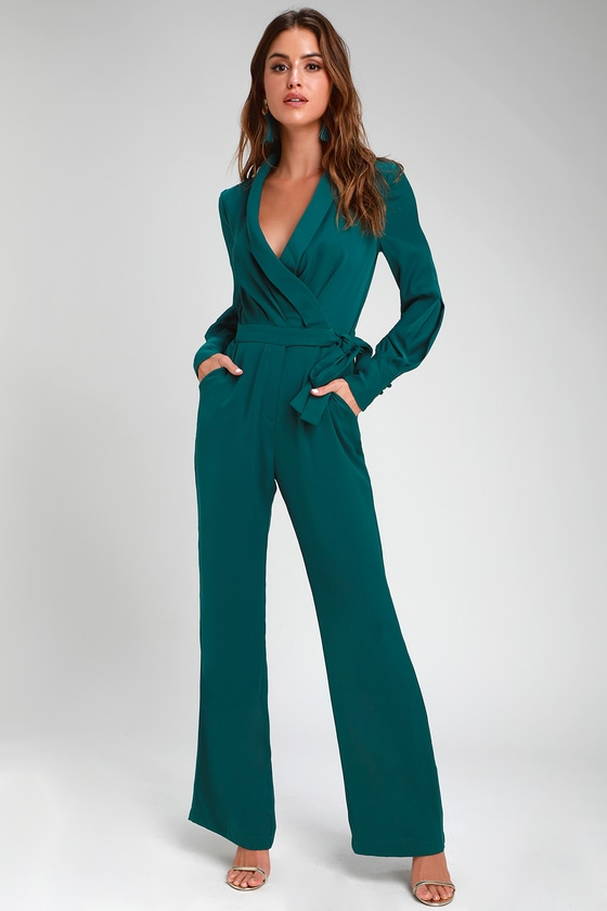 6909ece75ab Adelyn Rae Charis - Forest Green Jumpsuit - Long Sleeve Jumpsuit