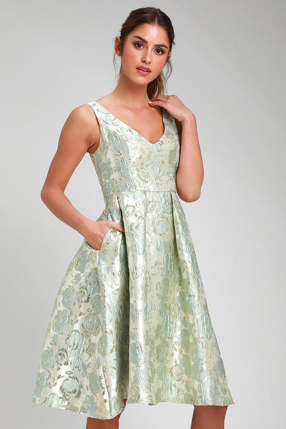 1556af126aa9 Lovely Silver Dress - Jacquard Dress - Sleeveless Midi Dress
