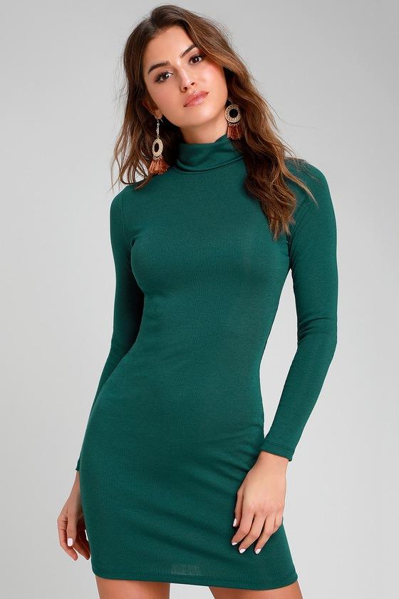 Dark Green Dress - Turtleneck Dress - Long Sleeve Bodycon ...