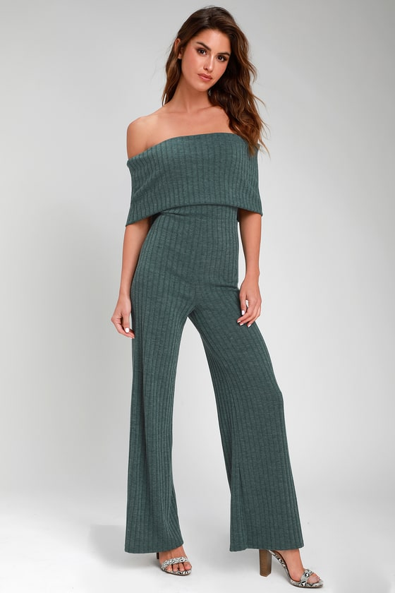 ALWAYS STYLING EMERALD GREEN OFF-THE-SHOULDER RIBBED JUMPSUIT