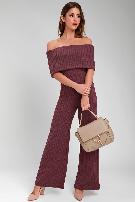 ALWAYS STYLING WASHED BURGUNDY OFF-THE-SHOULDER RIBBED JUMPSUIT