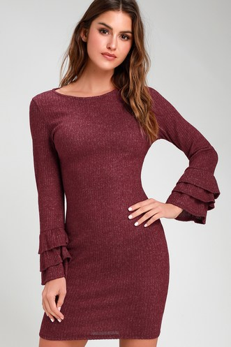 1747f10a3f18 Rooney Heather Burgundy Flounce Sleeve Bodycon Sweater Dress