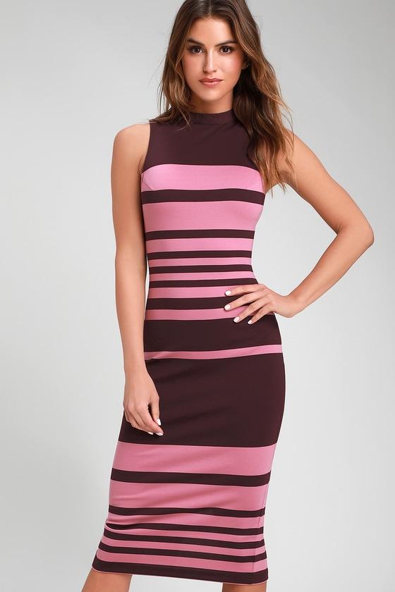 8b54c951ea88 Chic Bodycon Dress - Purple and Pink Striped Dress - Office Dress