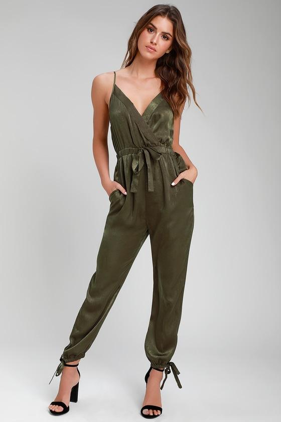 99127f62df78 Luxe Satin Jumpsuit - Olive Green Jumpsuit - Surplice Jumpsuit