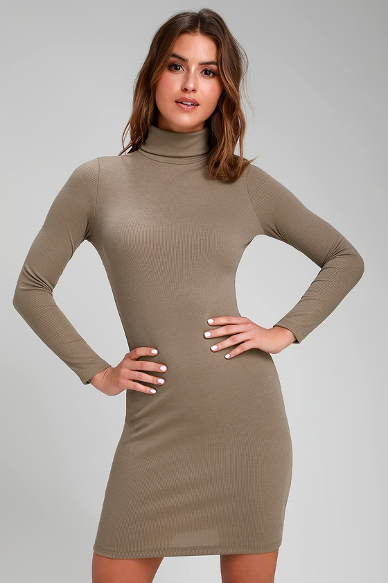 5577650c Chic Taupe Dress - Turtleneck Dress - Long Sleeve Bodycon Dress