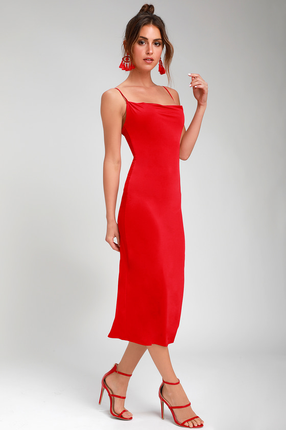 Chic Red Slip Dress Cowl Neck Slip Dress Midi Slip Dress