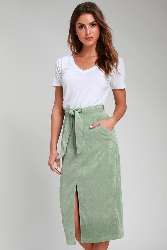 efb543387 The Fifth Label Philosophy - Sage Green Corduroy Skirt - Midi