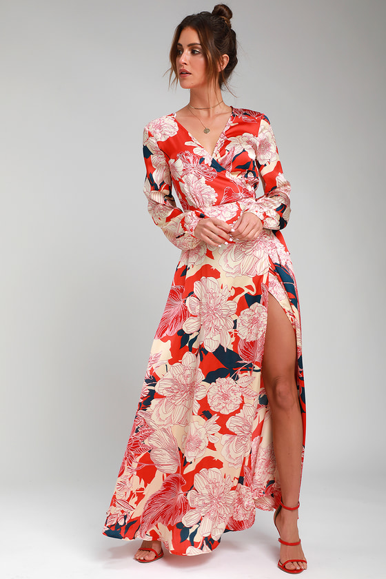 cf25ffdab3 Lovely Coral Red Satin Dress - Floral Print Dress - Wrap Maxi
