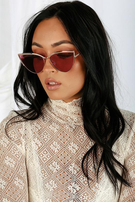 Retro Sunglasses | Vintage Glasses | New Vintage Eyeglasses Jo Jo Rose Gold and Burgundy Cat-Eye Sunglasses - Lulus $8.00 AT vintagedancer.com