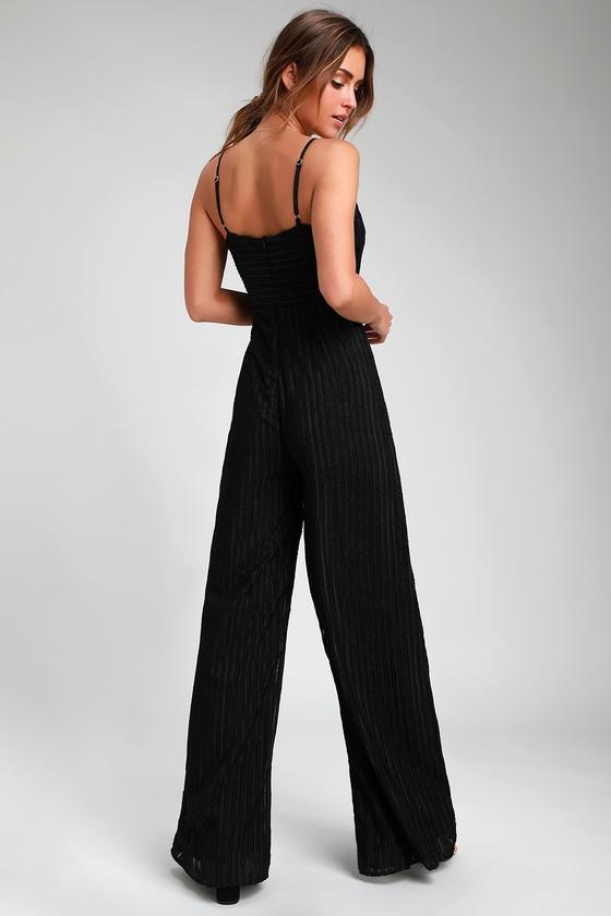 2a4449087290 Cool Black Jumpsuit - Striped Jumpsuit - Wide-Leg Jumpsuit