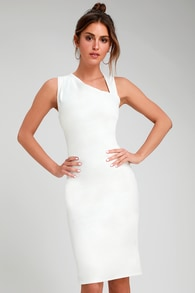 contemporary chic white asymmetrical neckline bodycon dress