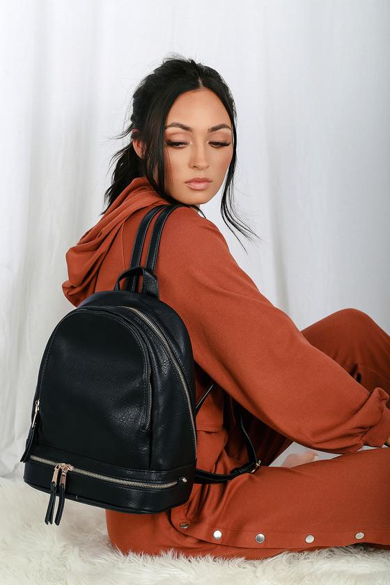 Chic Black Backpack - Vegan Leather Backpack - Mini Backpack 31e5cddbdd34d