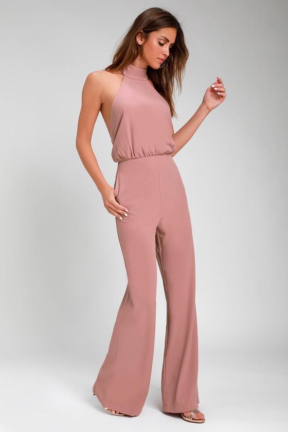 1c7c41fd441e Chic Dusty Pink Jumpsuit - Halter Jumpsuit - Wide Leg Jumpsuit