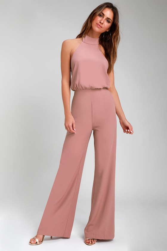 Moment for Life Dusty Pink Halter Jumpsuit