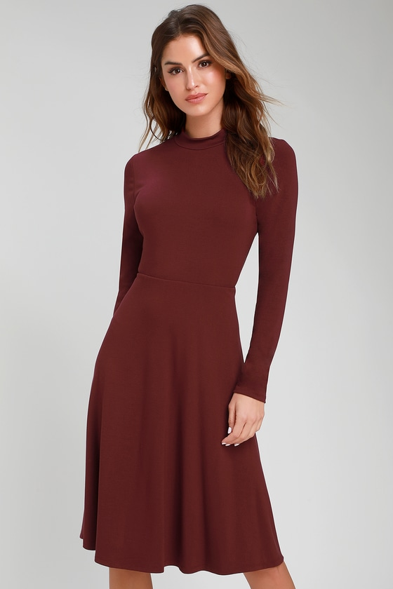 f5449be335 Cute Burgundy Dress - Long Sleeve Dress - Mock Neck Dress