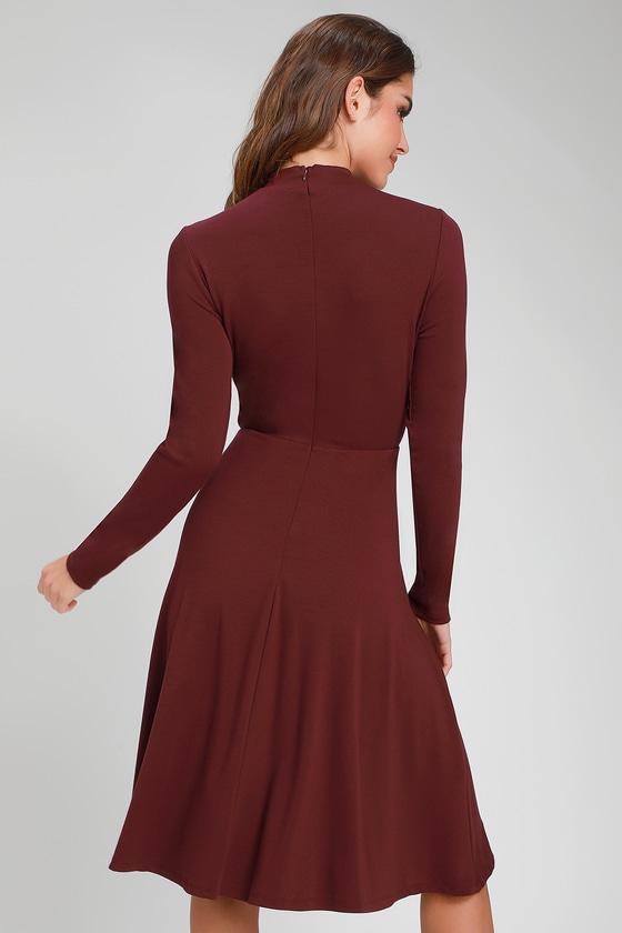 Cute Burgundy Dress - Long Sleeve Dress - Mock Neck Dress 3786e295e