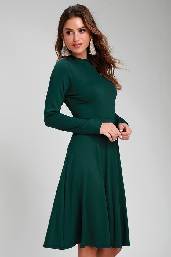 f2883f39545 Cute Forest Green Dress - Long Sleeve Dress - Mock Neck Dress