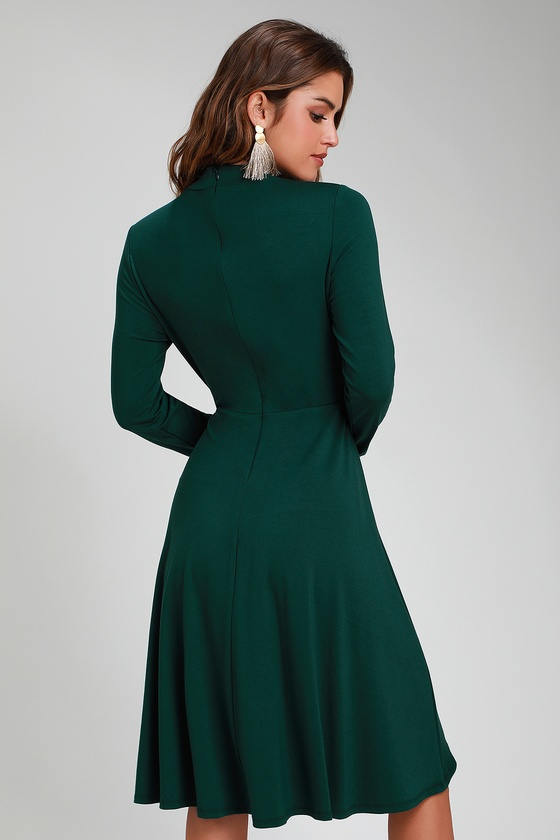 bf4f17b64b12 Cute Forest Green Dress - Long Sleeve Dress - Mock Neck Dress