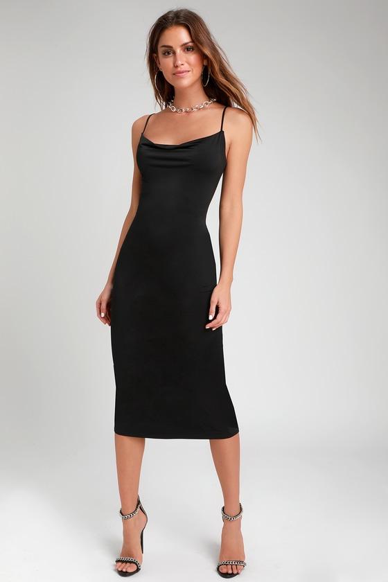 991247f9b85a Chic Black Slip Dress - Cowl Neck Slip Dress - Midi Slip Dress