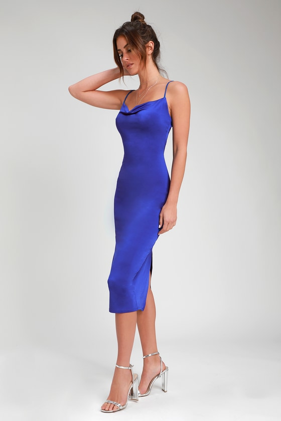b6ab4e5cb920e Royal Blue Slip Dress - Cowl Neck Slip Dress - Midi Slip Dress