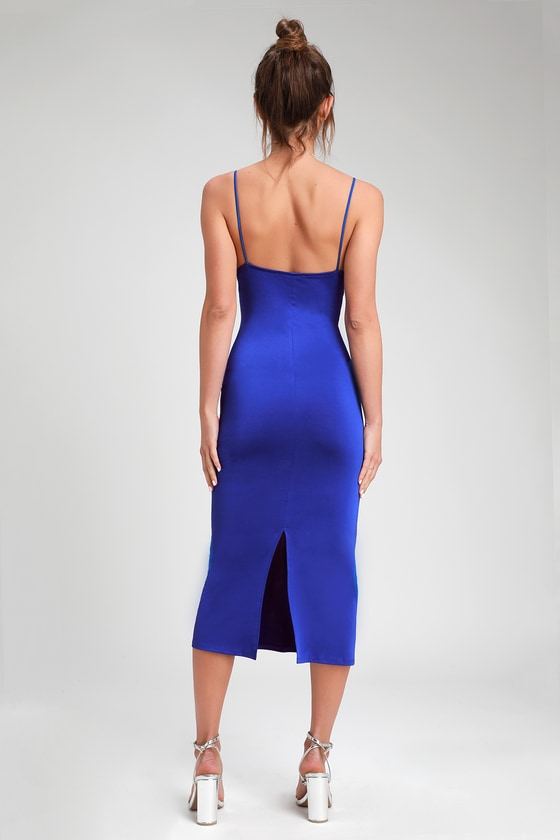 7c03d7984 Royal Blue Slip Dress - Cowl Neck Slip Dress - Midi Slip Dress