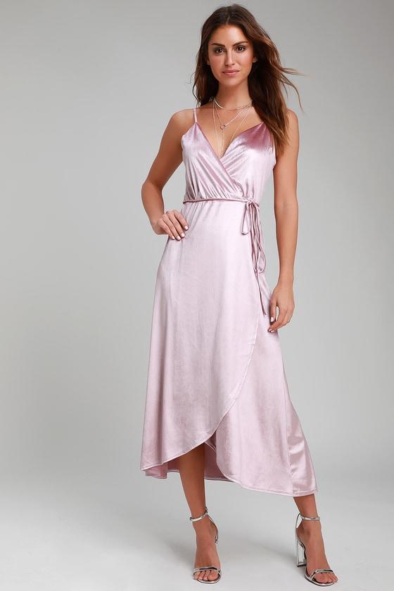 70959453f Chic Mauve Pink Dress - Velvet High-Low Dress - Velvet Wrap Dress