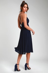 Love Me To The Moon Navy Blue Pleated Midi Dress