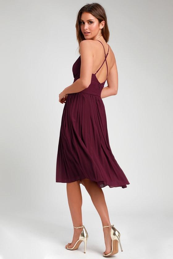 b0f4262b92 Stunning Burgundy Dress - Pleated Dress - Pleated Midi Dress
