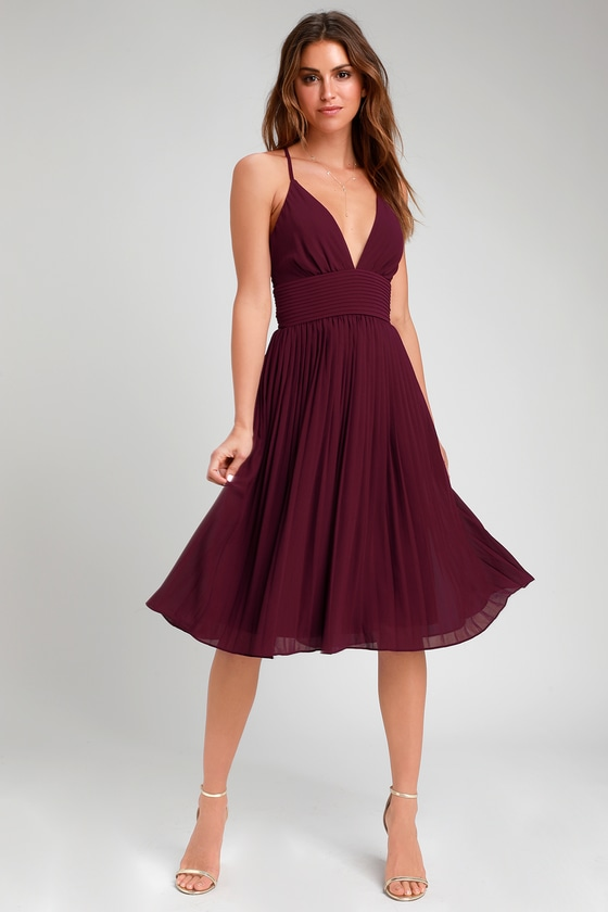 Love Me To The Moon Burgundy Pleated Midi Dress by Lulus
