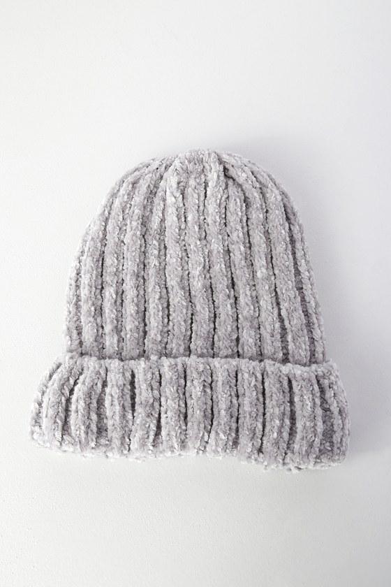 Cute Grey Beanie - Chenille Beanie - Grey Hat - Knit Beanie 1752894daef0