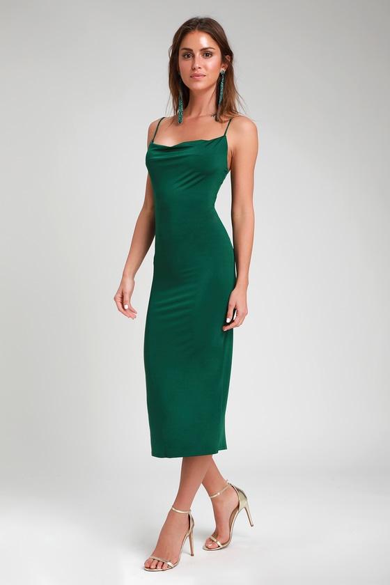 7498b4adc Dark Green Slip Dress - Cowl Neck Slip Dress - Midi Slip Dress