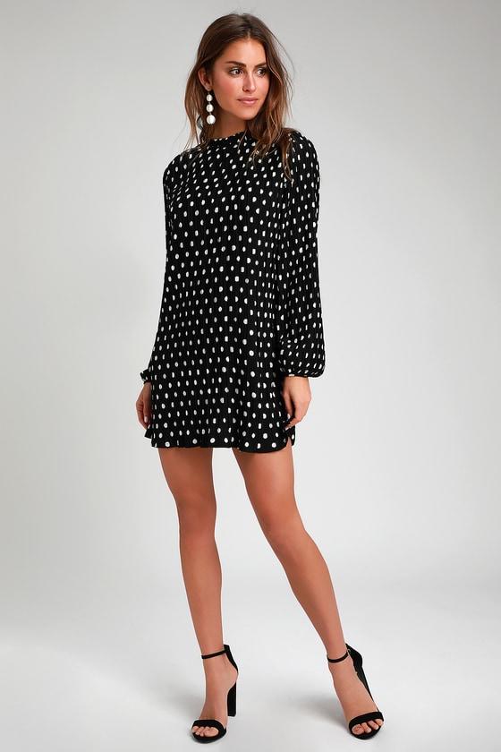 c6fbb28ce1 Pleat to Meet You Black Polka Dot Long Sleeve Shift Dress