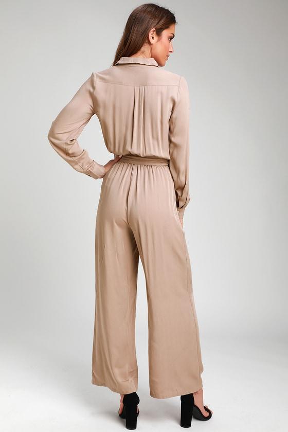 64a49eb6fad Cute Taupe Jumpsuit - Woven Jumpsuit - Long Sleeve Jumpsuit