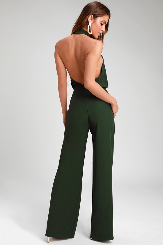 b491eb43c5 Chic Dark Green Jumpsuit - Halter Jumpsuit - Wide Leg Jumpsuit