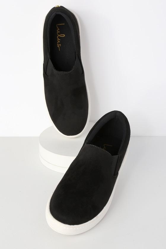 10c5540c847d5 Cute Black Sneakers - Slip-On Sneakers - Flatform Sneakers
