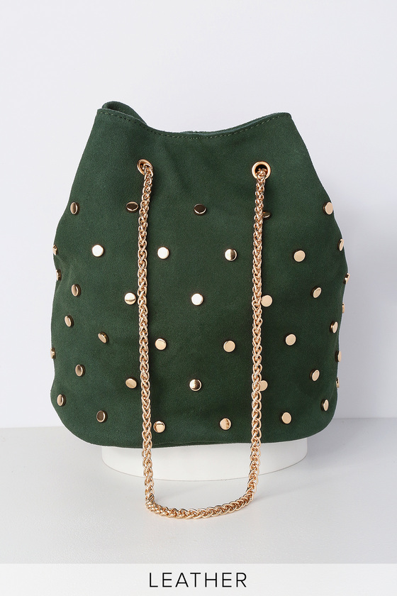 META OLIVE GREEN SUEDE LEATHER STUDDED DRAWSTRING BAG