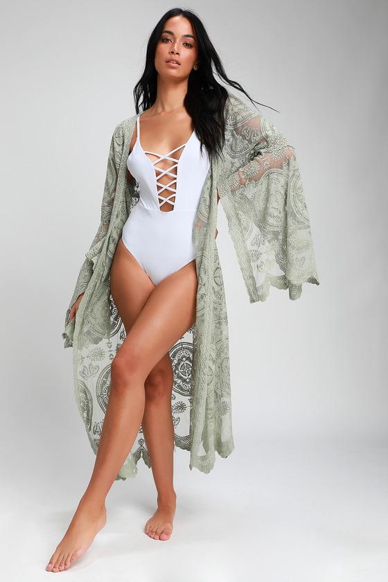 958975f74 Cute Lace Kimono - Sage Green Lace Kimono Top - Midi Kimono Top