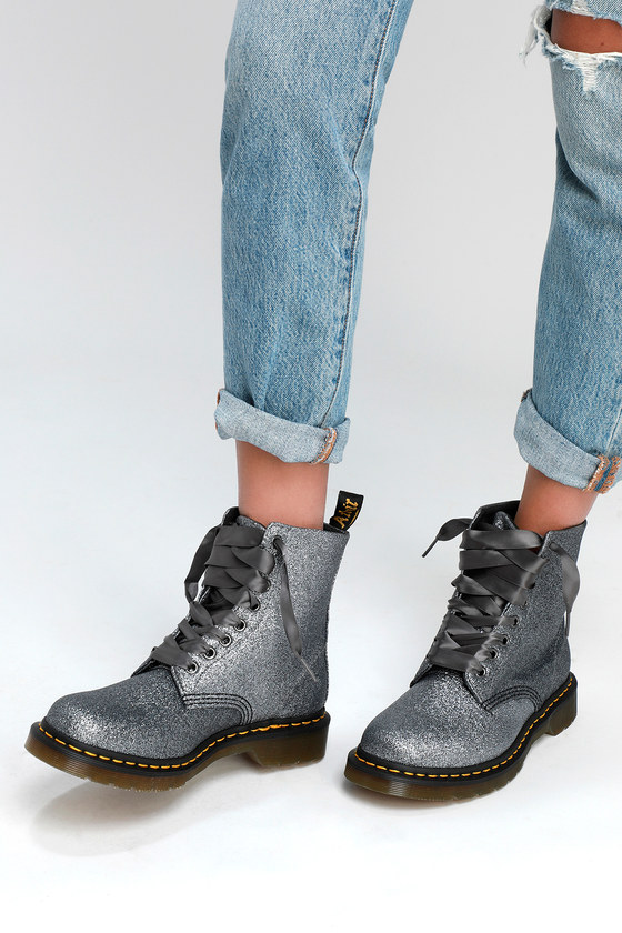 dc3b4759b4bc Dr. Martens 1460 Pascal - Pewter Glitter Boots - Vegan Boots