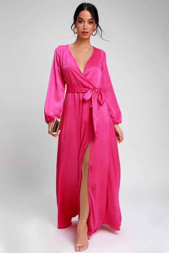 7c85987856ec Lovely Fuchsia Dress - Satin Maxi Dress - Long Sleeve Dress