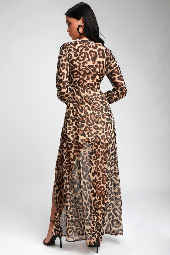 2db540c6d6726 Sexy Brown Leopard Print Dress - Long Sleeve Dress - Maxi Dress