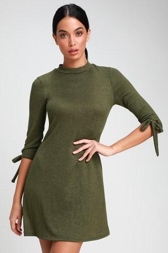 8498741fcdd Tie a Little Love Olive Green Tie-Sleeve Knit Swing Dress