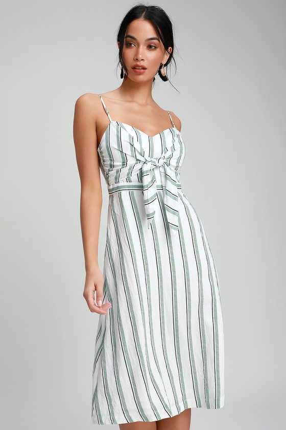 d3b98f962aad LUSH - Green and White Striped Midi Dress - Tie-Front Midi Dress
