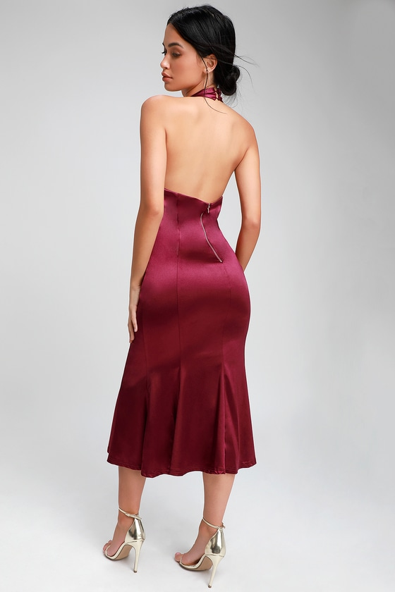 f2058e62ce81 Chic Burgundy Dress - Satin Dress - Halter Dress - Midi Dress