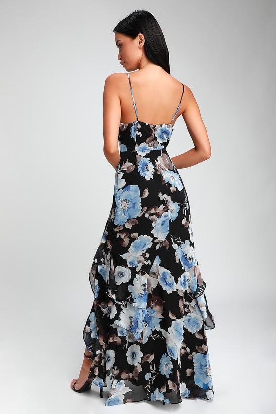 fa870b6f2ef428 Chic Black Floral Print Dress - Maxi Dress - Ruffled Dress